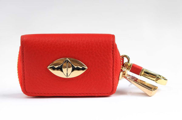 Key Holder in Pebble Leather - Red
