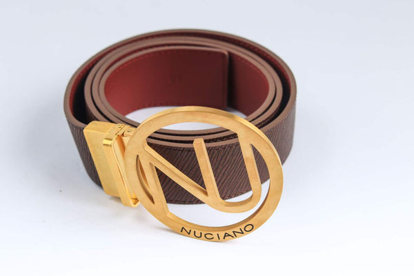 Men's Reversible Leather Belt - Chocolate Brown/Burgundy