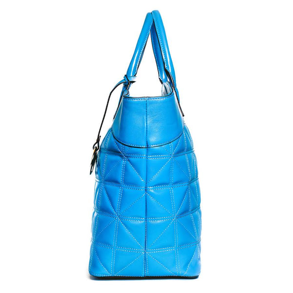 Leah Tufted Tote in Blue Smooth Leather