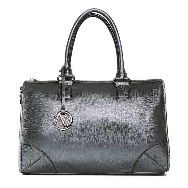 Madison Satchel Handbag in Grey Pebble Leather