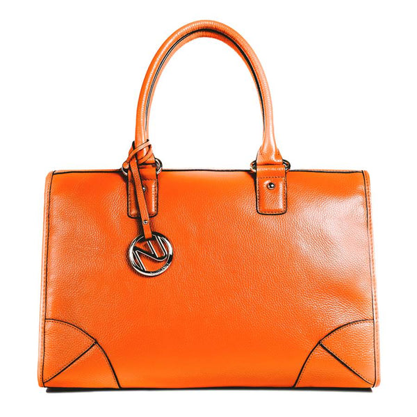 Madison Satchel Handbag in Orange Pebble Leather