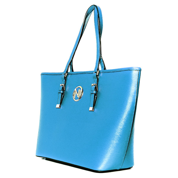 ANGELIQUE TOTE IN BLUE RIPPLE GRAIN LEATHER