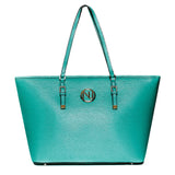 ANGELIQUE TOTE IN GREEN RIPPLE GRAIN LEATHER