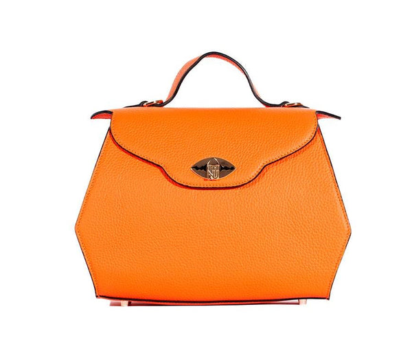 Aurene Handbag in Orange Pebble Grain Leather