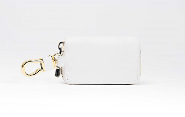 Key Holder in Pebble Leather - White