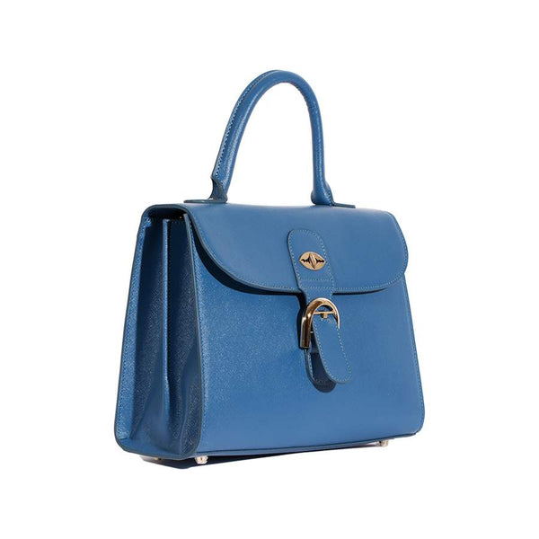 Nylah Handbag in Blue Saffiano Leather