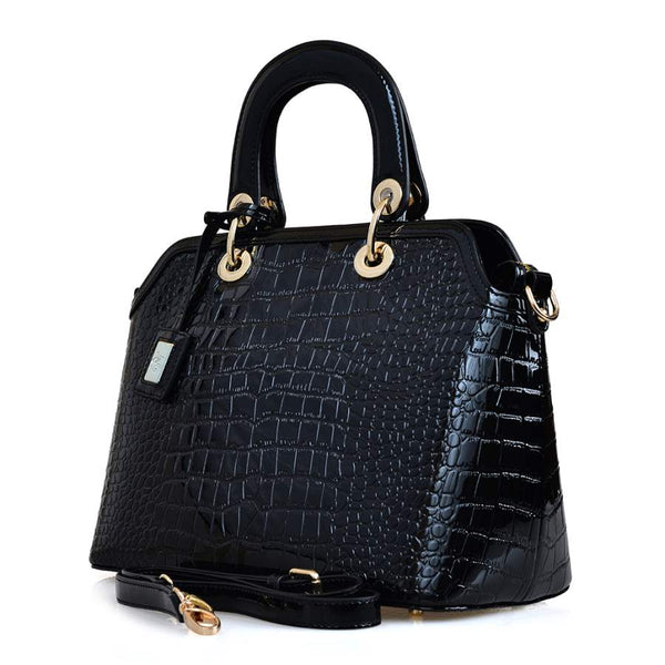 Prisca in Croc Patterned Leather - Nuciano Handbags