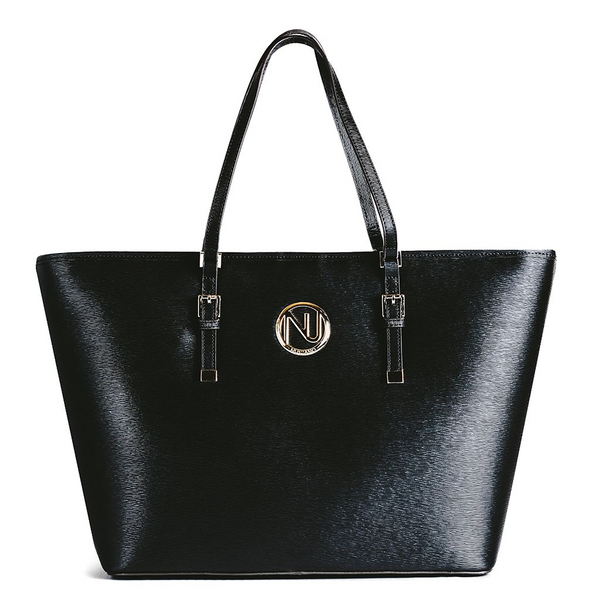 ANGELIQUE TOTE IN BLACK RIPPLE GRAIN LEATHER