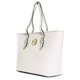 ANGELIQUE TOTE IN CREAM RIPPLE GRAIN LEATHER