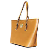 ANGELIQUE TOTE IN MUSTARD RIPPLE GRAIN LEATHER