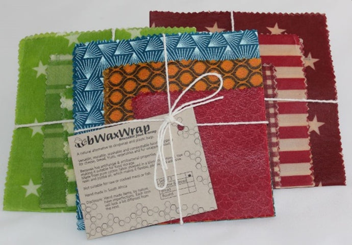 Reusable Bees Wax Sheets (for food wrapping) | 3 Pack with S, M & L Red or Green Shweshwe