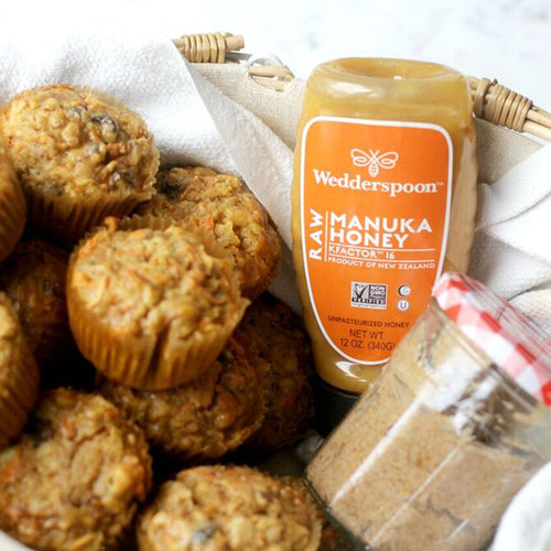 Morning Glory Muffins with Manuka Honey Butter
