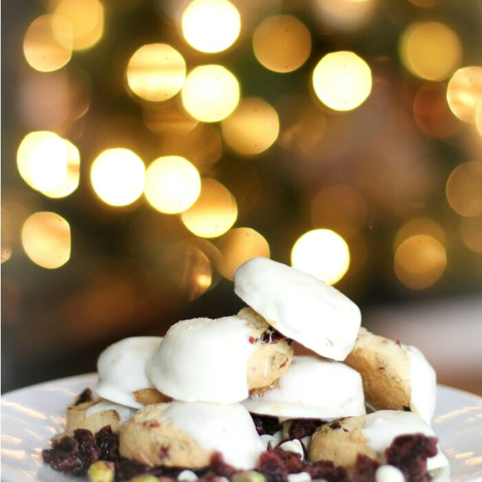 Gluten-free Cranberry Shortbread Cookies with Manuka Honey Glaze