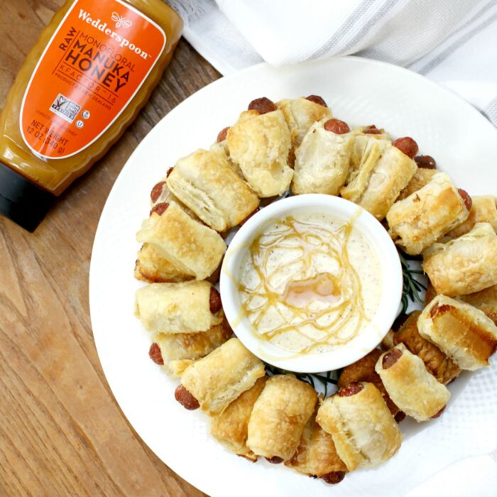 Mini Puff Pastry Franks with Spicy Honey Mustard