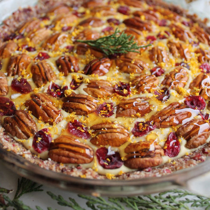 Ginger Cream Honey Pie with Pecans & Cranberries
