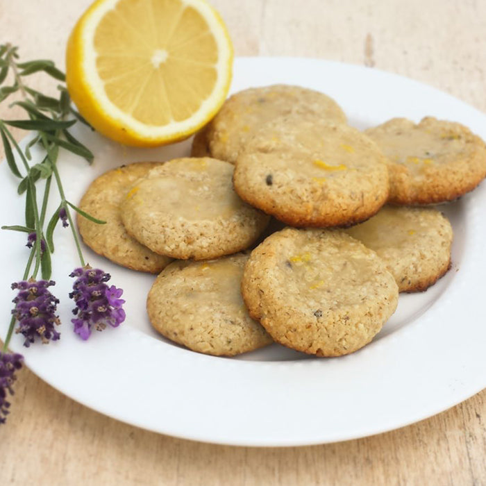 Lavender Oat Shortbread Cookies Drizzled with Lemon Honey