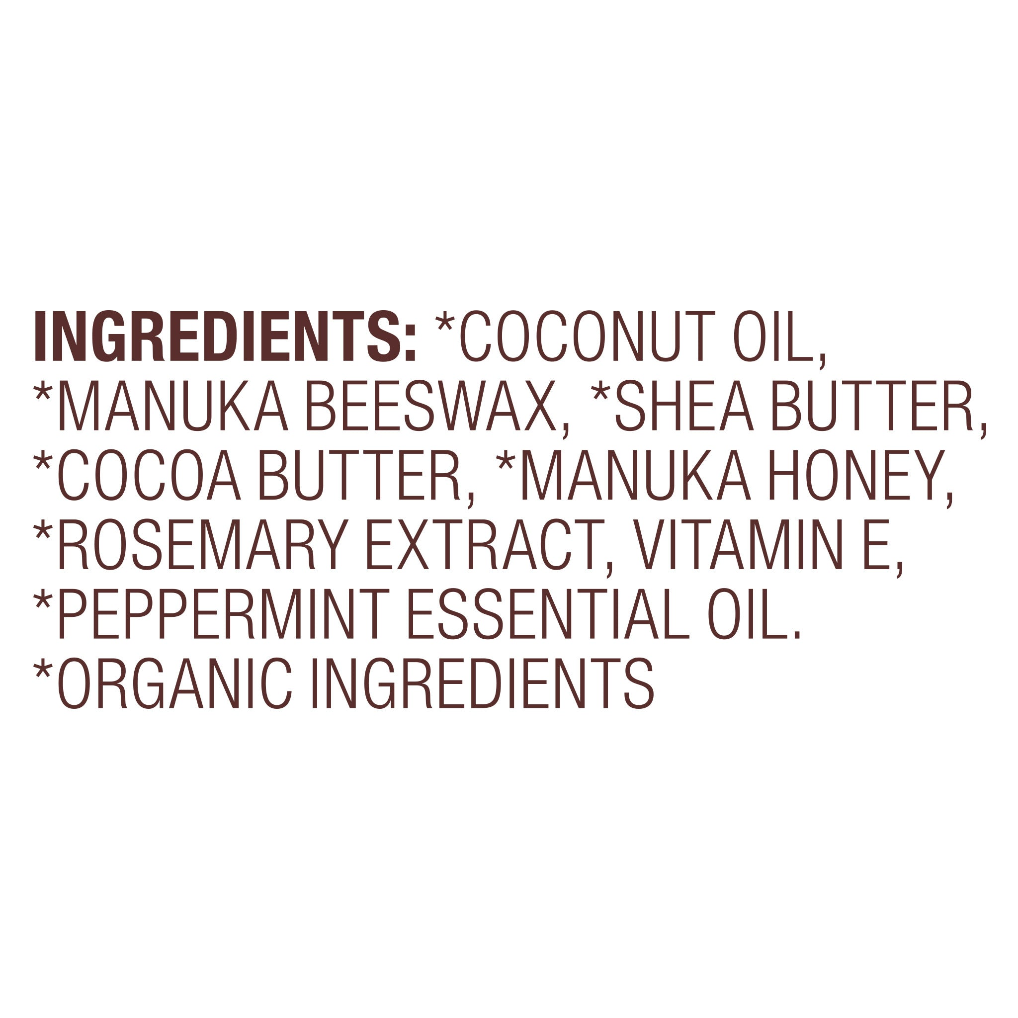Organic Manuka Lip Balm Peppermint Ingredient List