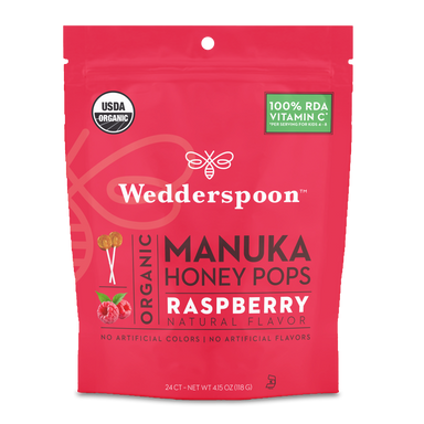 Organic Manuka Honey Pops Raspberry