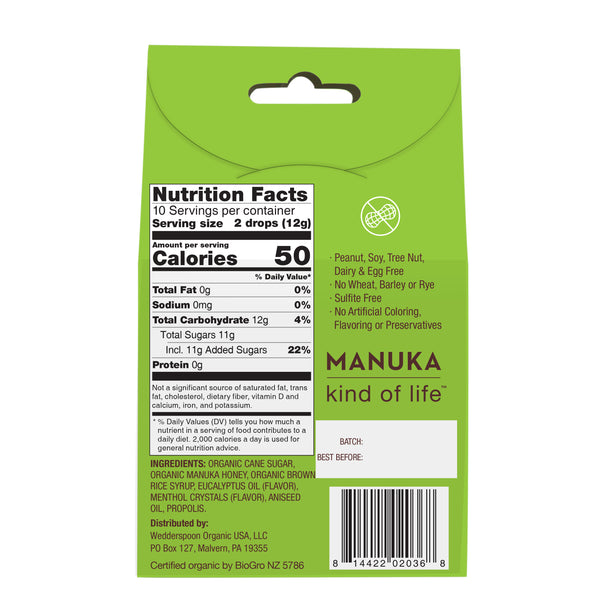 Organic Manuka Honey Drops - Eucalyptus