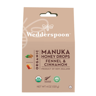 Wedderspoon Manuka Honey Drops Fennel & Cinnamon