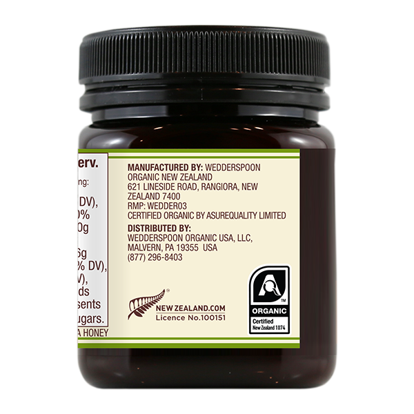Organic Raw Monofloral Manuka Honey, 250g/8.8oz