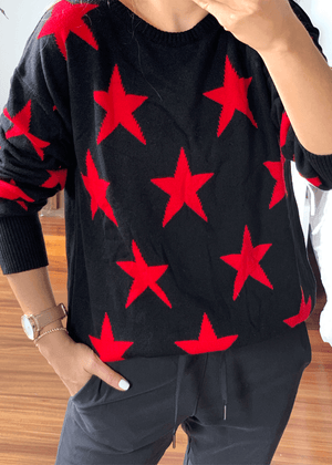 Suéter Estrellas Negro-Rojo  Ref ST0021 |  Black and red Stars Sweater Ref ST0021