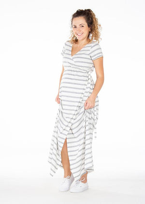 Vestido Largo Rayas Grises Ref  |  Gray Striped Long Dress  Ref