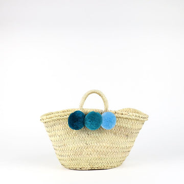 SOCCO DESIGNS - Small Mixed Pom Pom Straw Basket - Blue