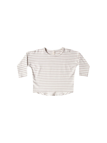 QUINCY MAE - Long Sleeve T-Shirt - Fog Stripes