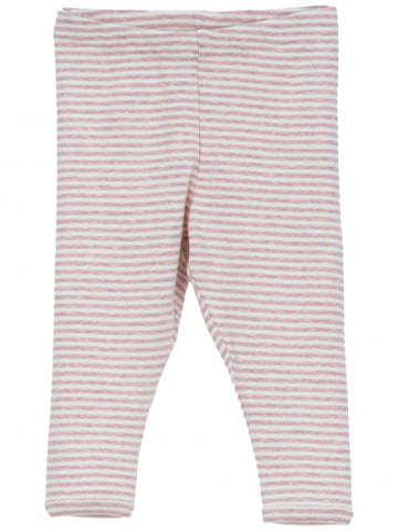 SERENDIPITY ORGANICS - Striped Baby Leggings - Powder Rose and Off White
