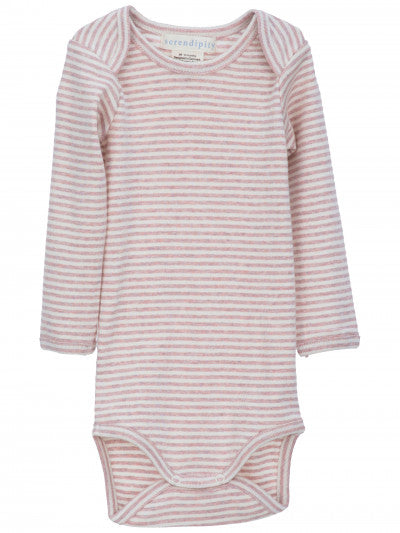 SERENDIPITY ORGANICS - Baby Stripe Bodysuit - Powder Rose and Off White