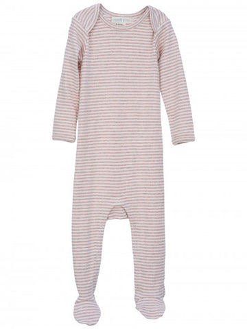 SERENDIPITY ORGANICS - Striped Baby Suit - Powder Rose and Off White