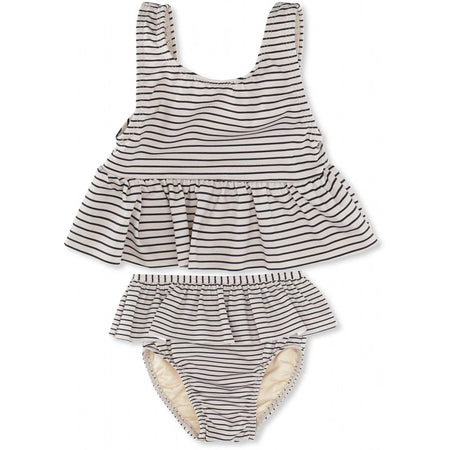 KONGES SLØJD - Soleil Girls Bikini - Striped Navy/ Nature