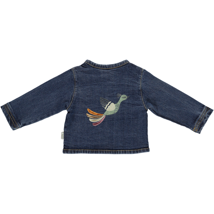 POUDRE ORGANIC - Denim Cardigan - Blue Denim with Bird Stitched Back