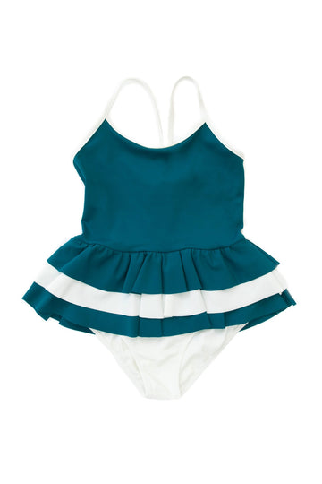 FOLPETTO -  Amelia One-Piece - Teal and Ivory