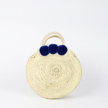 SOCCO DESIGNS - Small Round Pom Pom Straw Bag - Blue