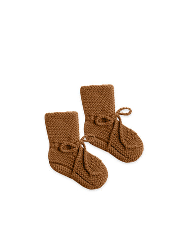 QUINCY MAE - Knit Baby Booties - Walnut