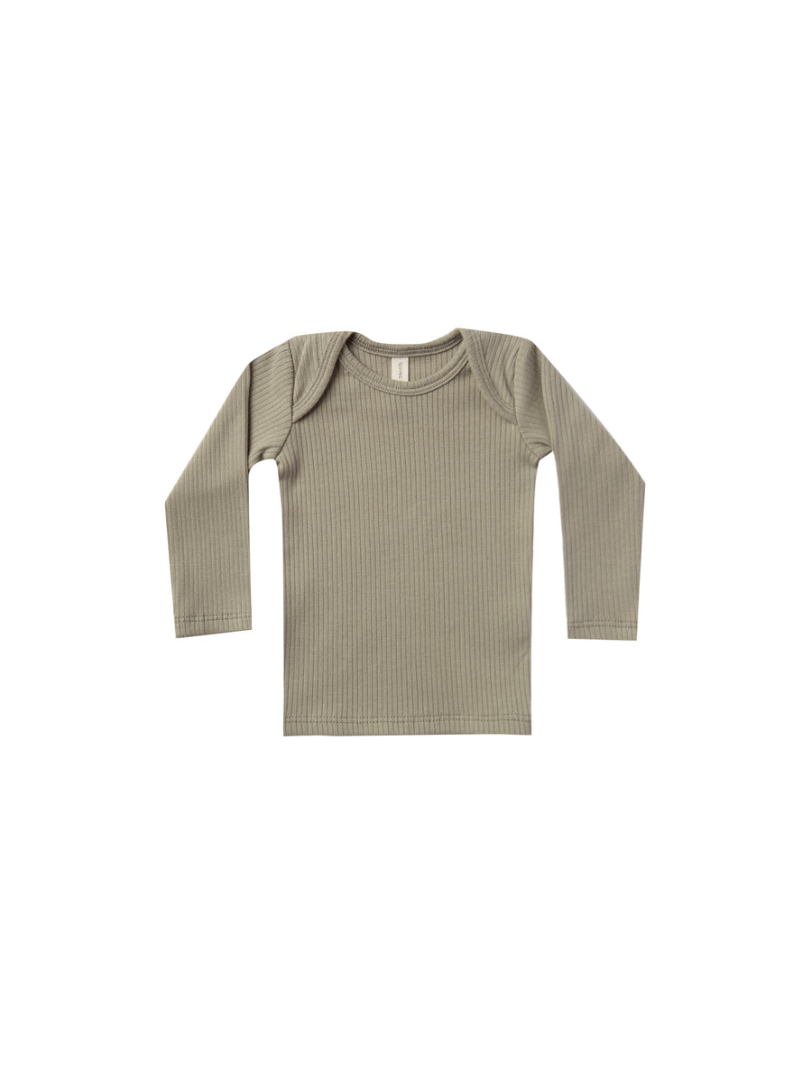 QUINCY MAE - Ribbed Long Sleeve Lap Tee - Olive