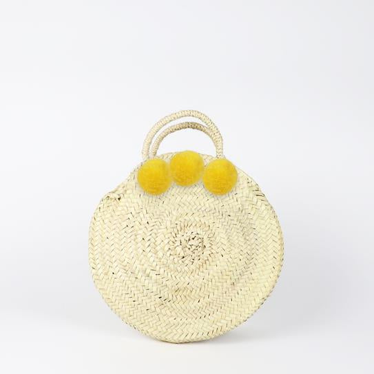 SOCCO DESIGNS - Small Round Pom Pom Straw Bag - Yellow