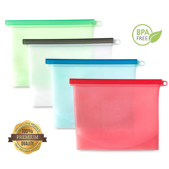 Leak Proof Reusable & Microwaveable Silicone Food Bags