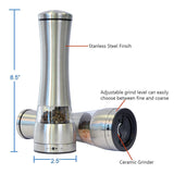 STAINLESS STEEL ELECTRONIC SALT AND PEPPER MILL