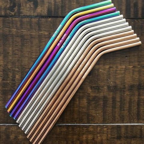 STEEL STRAWS - Rainbow/Rose Gold/Silver