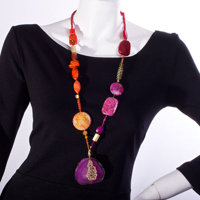 The Office of Delicious Agate & Jade Statement Necklace