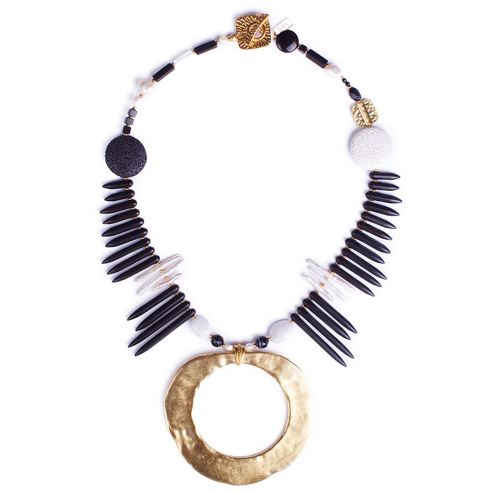 The Underground Pearl & Lava Galaxy of Contrasts Statement Necklace