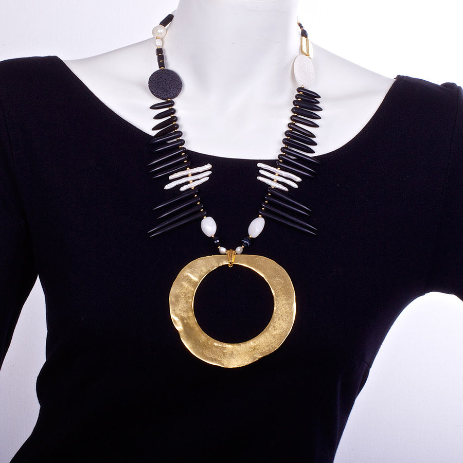 N°212 The Underground Pearl & Lava Galaxy of Contrasts Statement Necklace