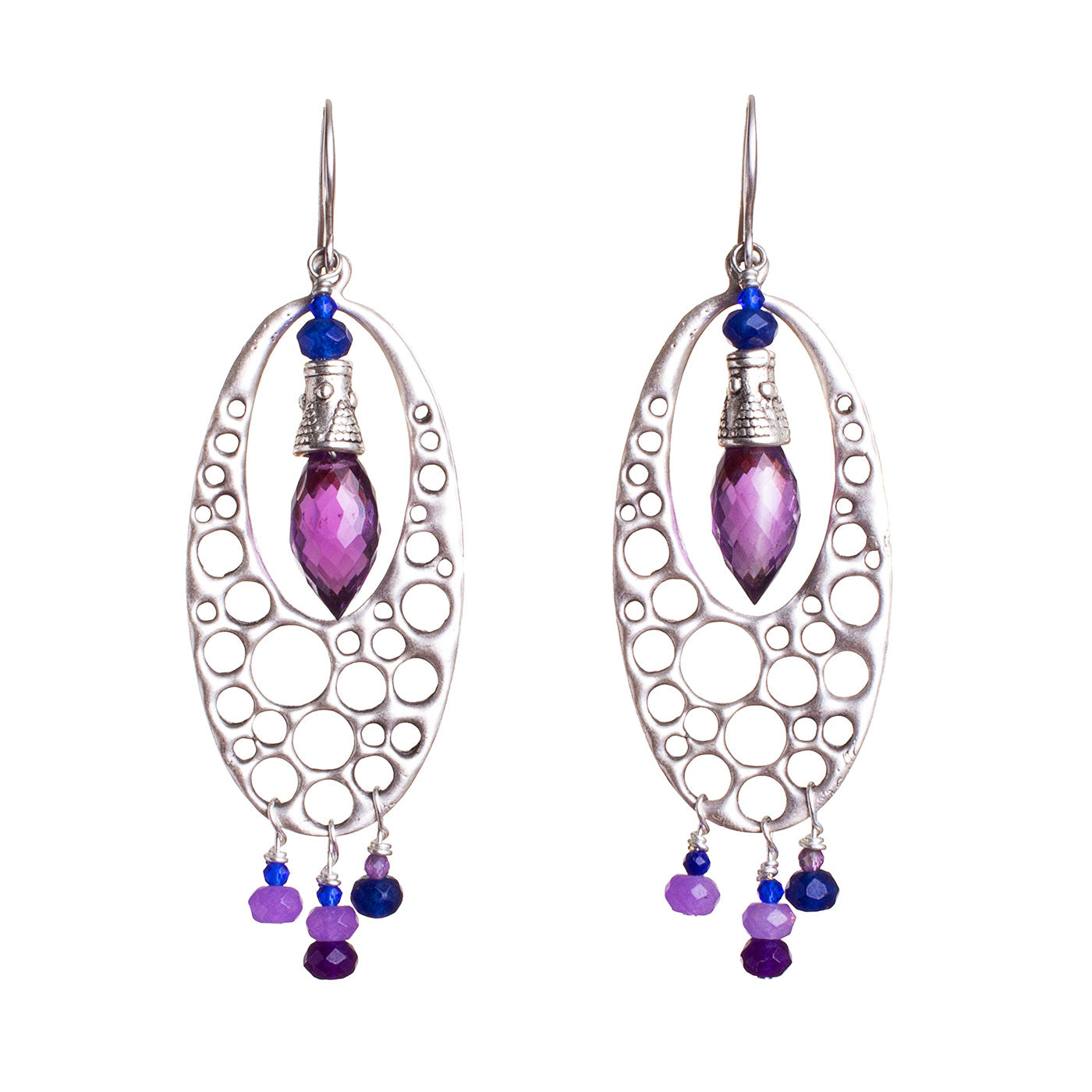 N°693 The Quiet Purple & Deep Blue Wave Statement Earrings