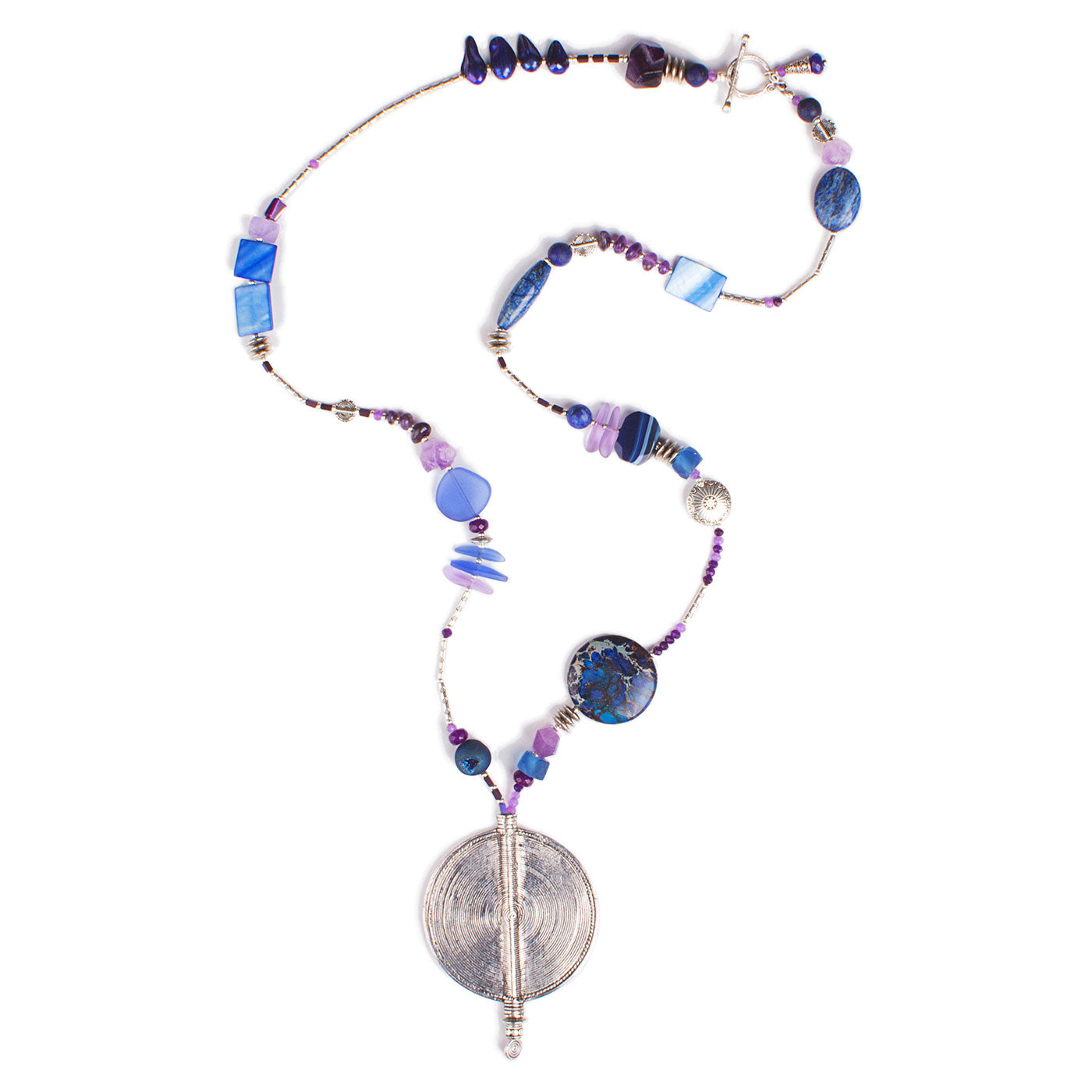 N°694 The Quiet Purple & Deep Blue Wave Statement Necklace