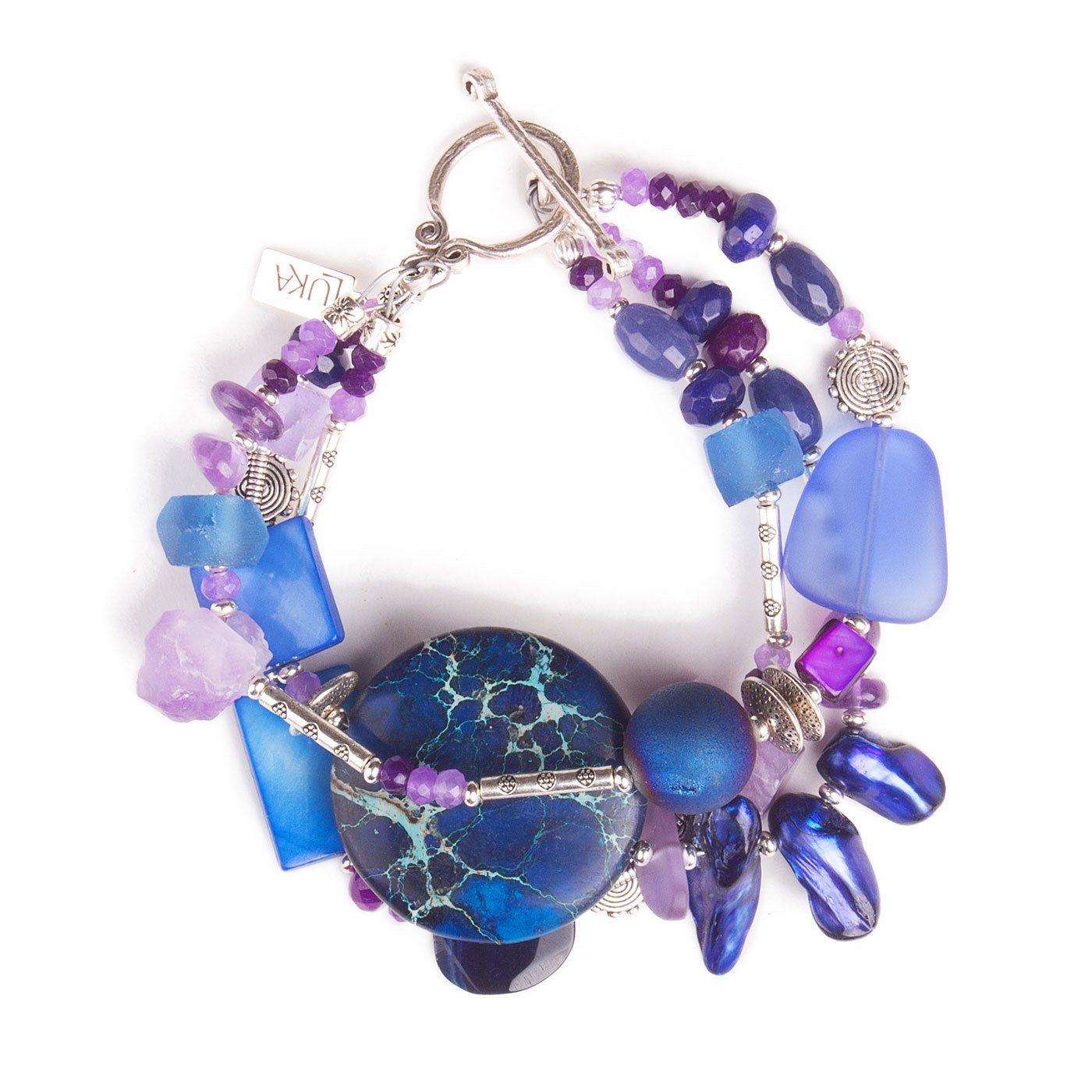 N°695 The Quiet Purple & Deep Blue Wave Statement Bracelet