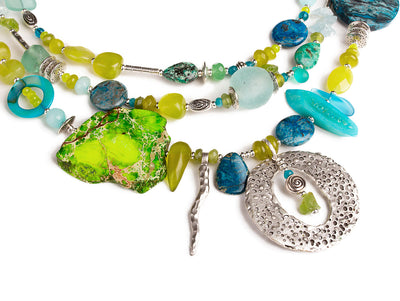 N°700 The Elegant Chartreuse Universe Statement Necklace