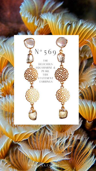 N°569 The Delicious Aquamarine & Pearl Tide Statement Earrings